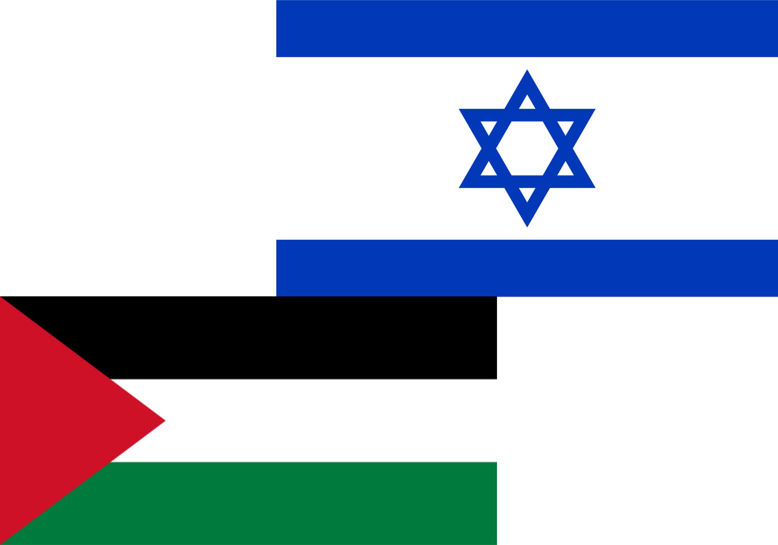 Flaggen Palästinas und Israels